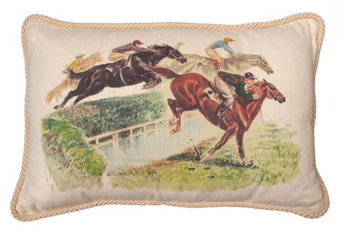 Horses Over the Fence Lumbar Pillow