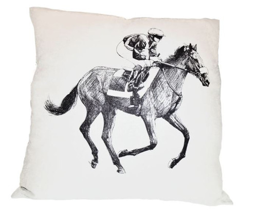 Horse and Jockey Sketch Pillow