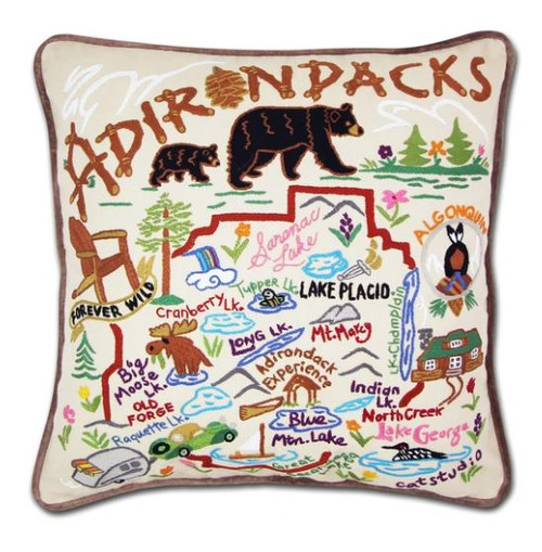 Adirondacks Hand-Embroidered Pillow