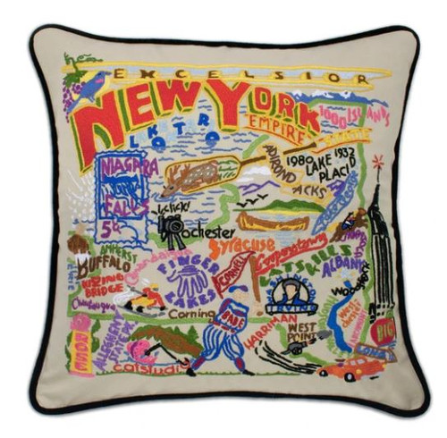 New York State Hand-Embroidered Pillow
