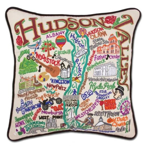 Hudson Valley Hand-Embroidered Pillow