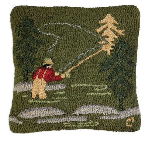 Fly Fisherman Hooked Pillow