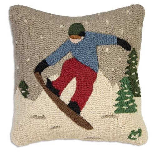 Look Ma Snowboarder Hooked Pillow