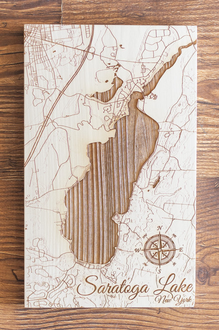 """Saratoga Lake map in """"Papier Blanc"""""""