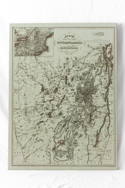"Medium NY Wilderness Map in ""Woodland Sage"""