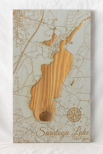 "Small Saratoga Lake map in ""Woodland Sage"""