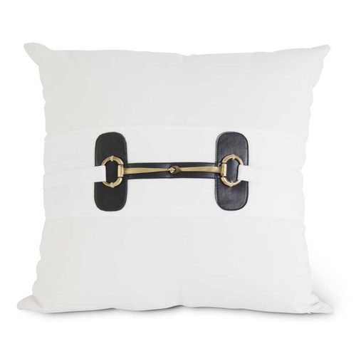 White Pillow with Gold Horse Bit