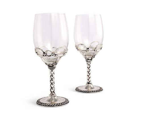 Equestrian Pair of Wine Glasses