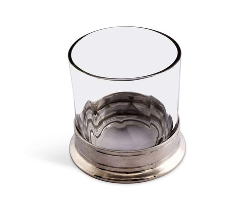 Pair of Double Old-Fashioned Glasses- Hatched Glass and Pewter