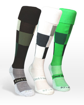 Cool horse riding socks check pattern in green, brown and white.
