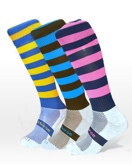 Cool horse riding socks | equestrian socks | Stripped socks in navy with brown, pink and yellow stripes.