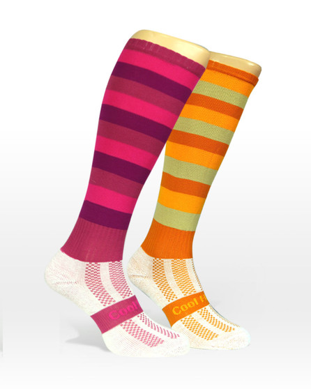 Cool Horse Riding Socks | Stripped horse socks in Pink and golds