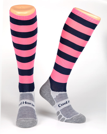 Cool Horse Socks Pink and Navy Stripped horse riding competition socks.