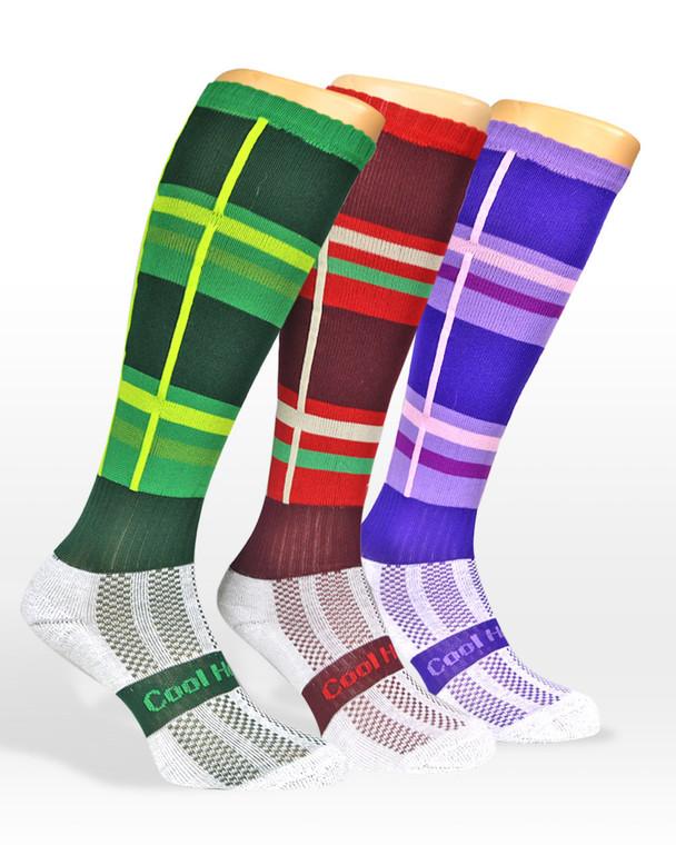 Horse riding socks | Tartan inspired in a Green tartan, traditional red tartan and purple.