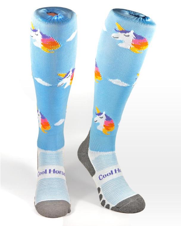 Coolhorsesocks technical riding socks in a unicorn pattern in blue