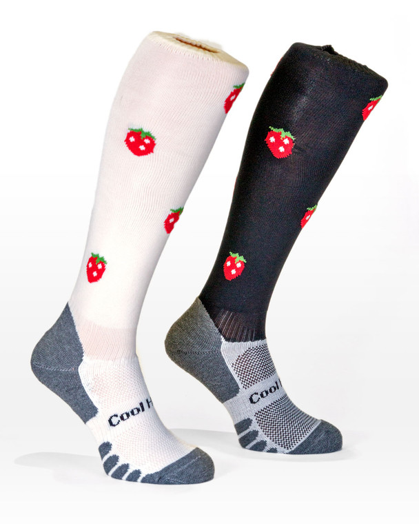 Horse Riding socks with a Strawberry pattern in white or black