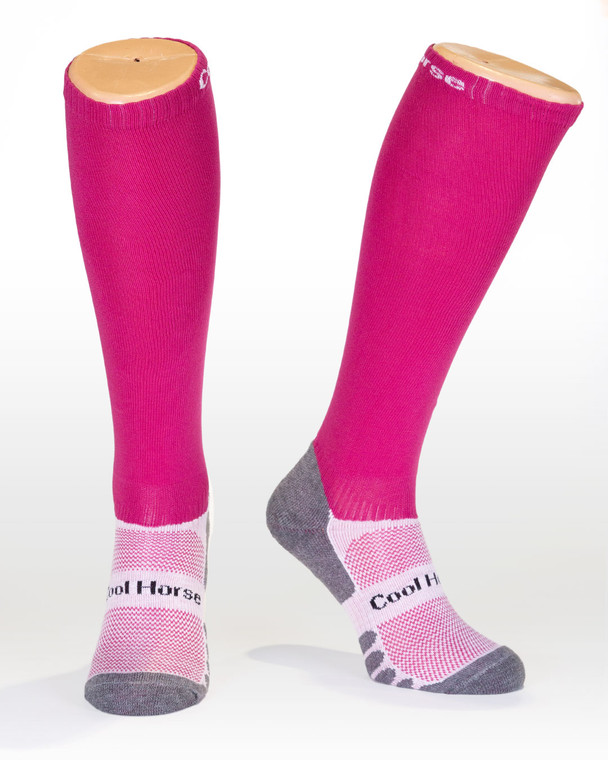 Scarlet pink competition horse riding socks