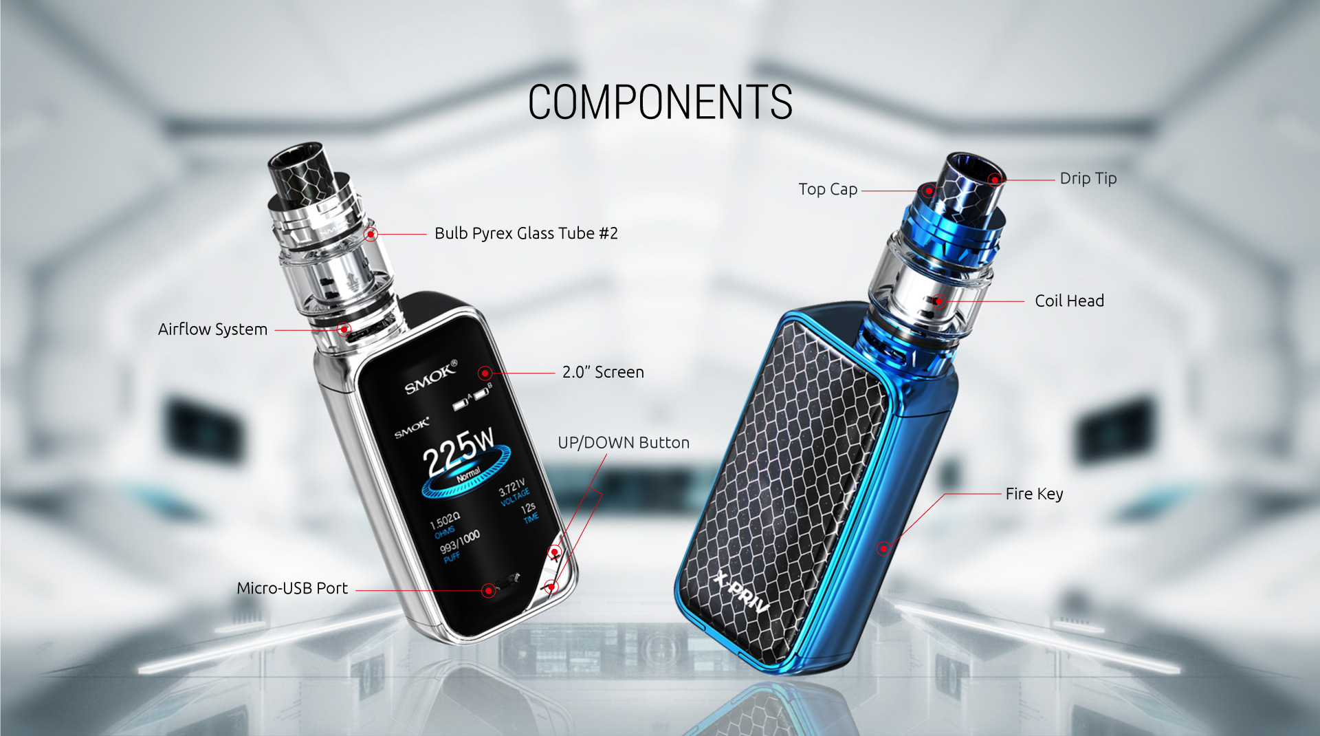 Smok X-Priv 225W Kit components