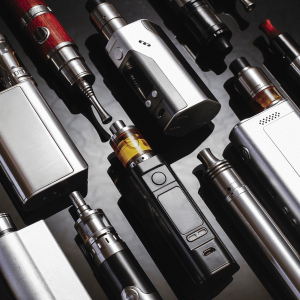 a selection of e-cigarette and vaping devices