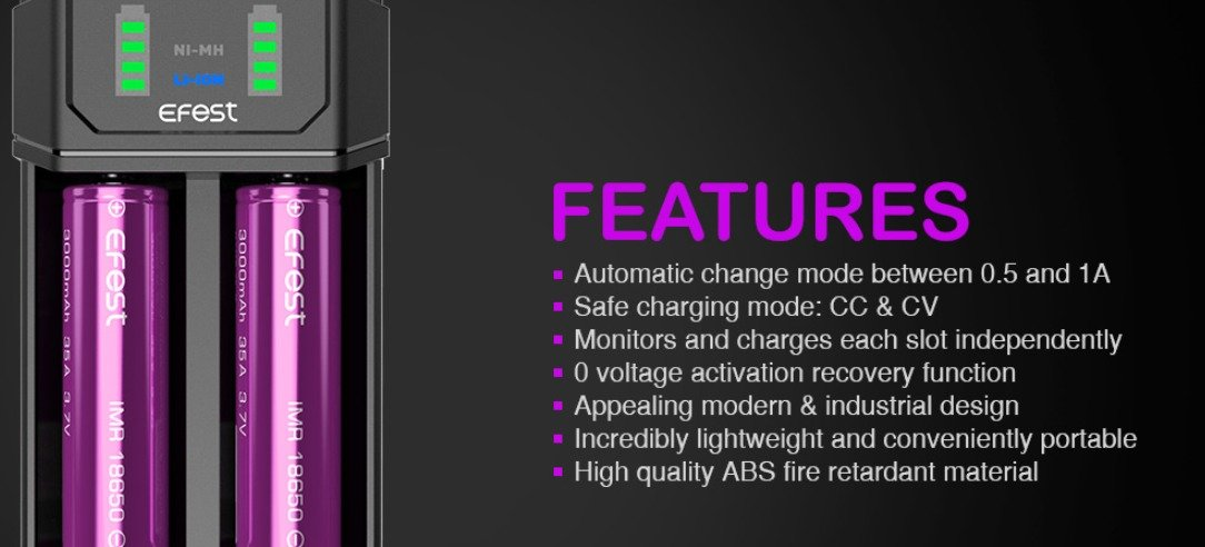 efest mega usb dual battery charger features
