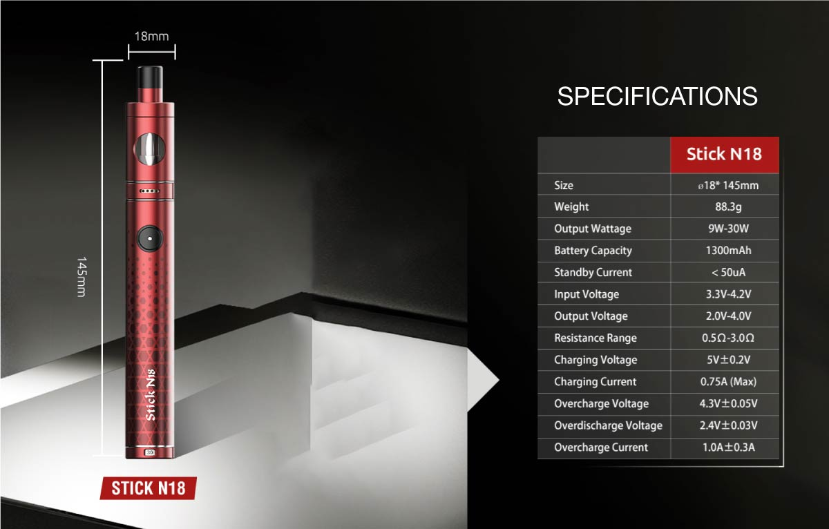 smok stick n18 specifications