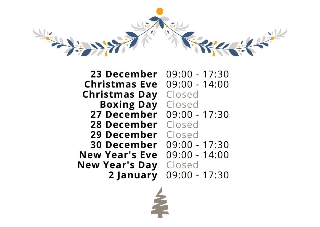 V2 Christmas Opening Hours