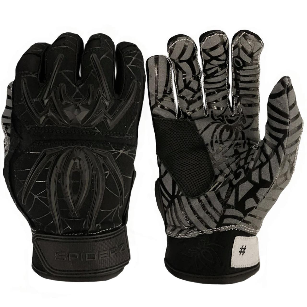 Black//Silver Medium Spiderz 2021 Hybrid Baseball//Softball Batting Gloves