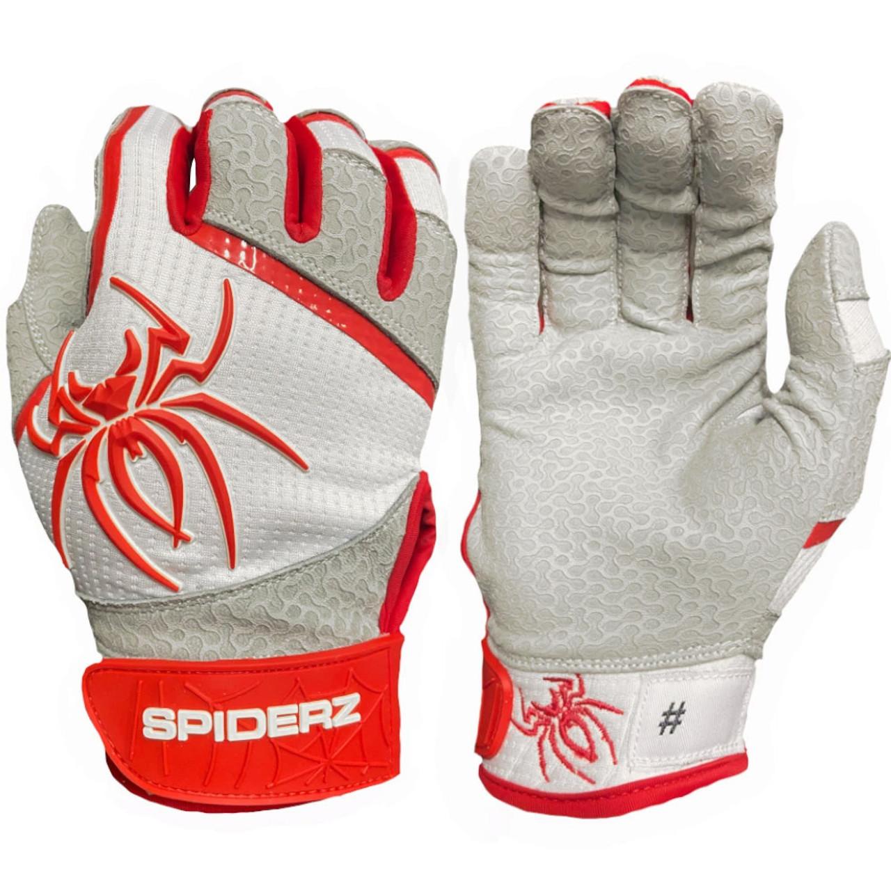 Large Red//White//Navy Spiderz 2021 Hybrid Baseball//Softball Batting Gloves