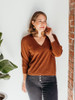 Lilla P Cropped Puff Sleeve V Neck Sweater
