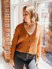 525 America Cotton Cardigan with Cable Knit Sleeves