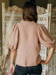 Self Contrast Addison Puff Sleeve V Neck Top