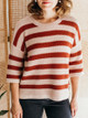 Lilla P Cropped Sleeve Easy Striped Pullover Sweater