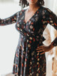 Effie's Heart Sarah Long Sleeve Faux Wrap Dress