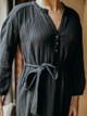 Lilla P Ruffle Neck Cotton Gauze Peplum Dress