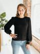 Lilla P Cotton Cashmere Puff Sleeve Crewneck Sweater