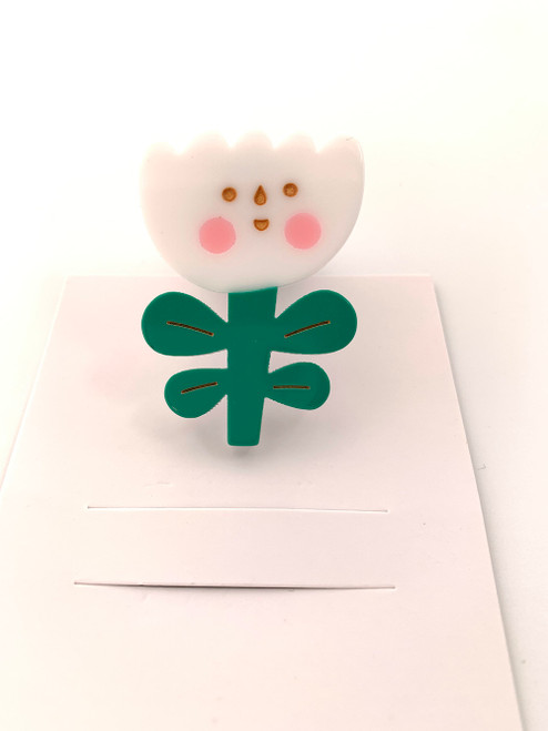 Flower Brooch - White Green