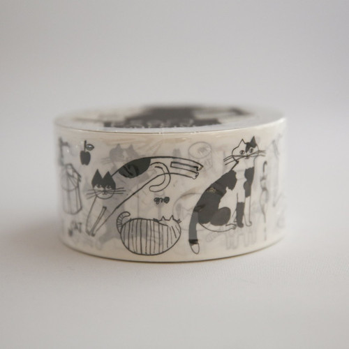 cute cat packing tape in black and white