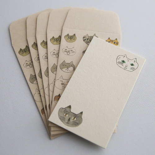 cat envelope and note card set from Japan