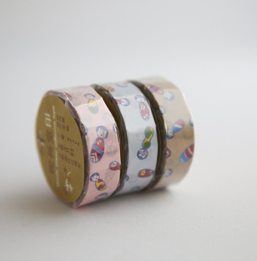 cute rolls of pink, blue and camel kokeshi washi tape
