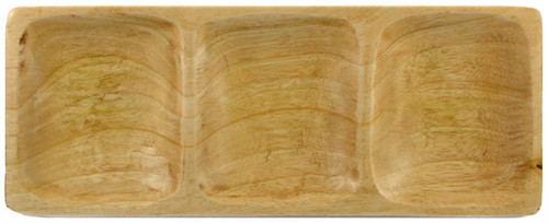three section carved mango wood serving tray