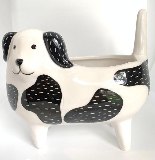 Dog planter black and white
