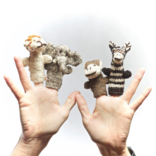 Set of four hand knitted finger puppets