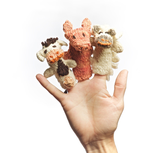 Set of three hand knitted finger puppets. Kenana knitters.