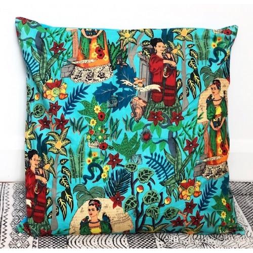 Aqua coloured frida kahlo cushion.
