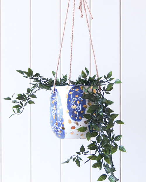 Hanging Planter - Abstract Navy/Gold - HG202