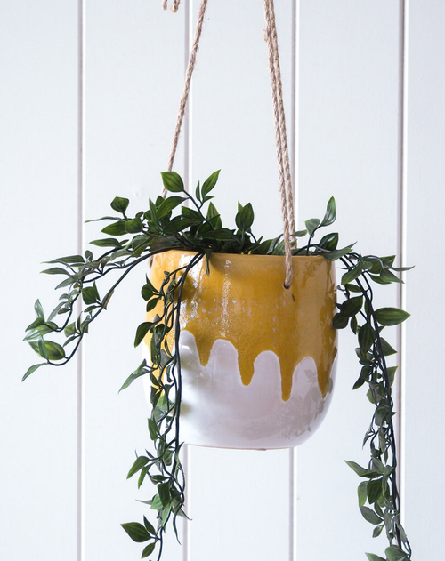 Hanging Planter - Dripping Mustard - HG196