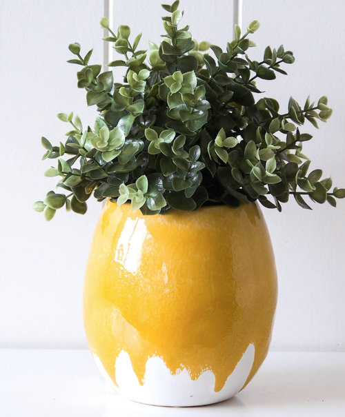 Pot/Planter - Dripping Mustard Egg - HG195