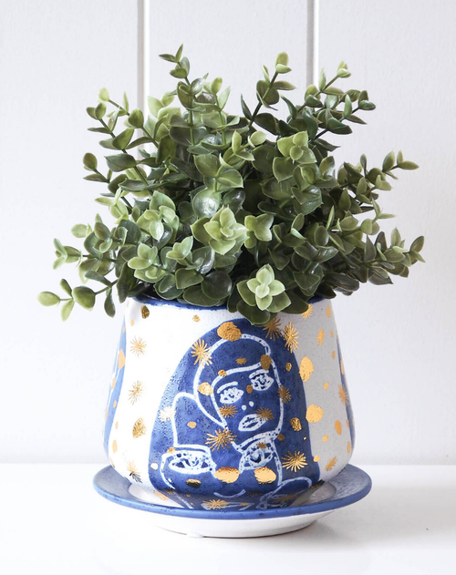 Pot/Planter with Saucer - Abstract Navy/Gold - HG201