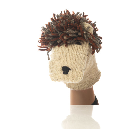 Knitted lion hand puppet.