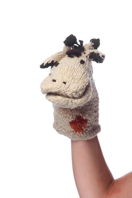 hand knitted giraffe hand puppet